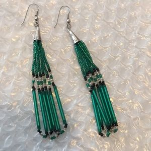 Anthropologie emerald green beaded BoHo earrings
